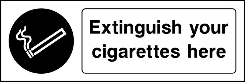 Extinguish your cigarettes here. Sign