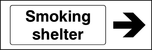 Smoking shelter. Arrow Right Sign