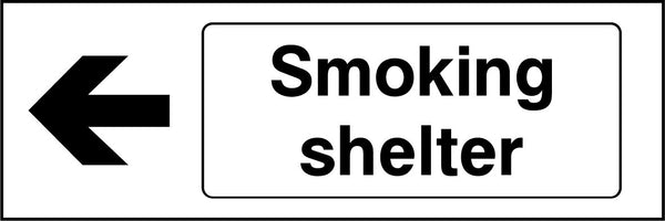 Smoking shelter. Arrow Left Sign