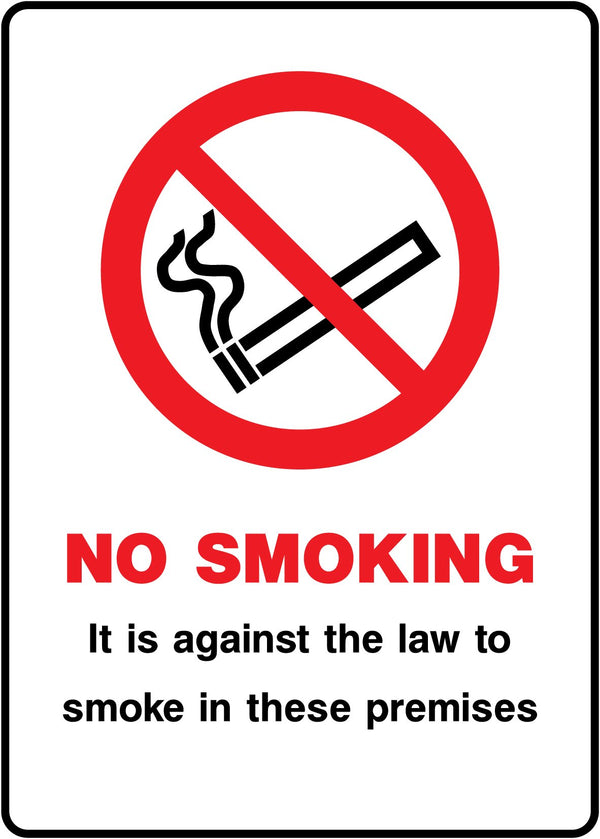 NO SMOKING - It is against the law to smoke in these premises. Sign