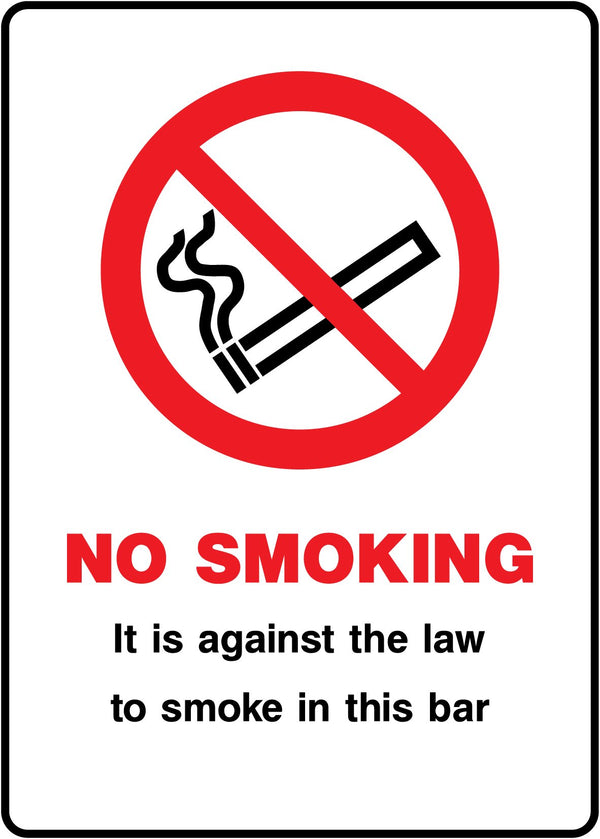 NO SMOKING - It is against the law to smoke in this bar. Sign