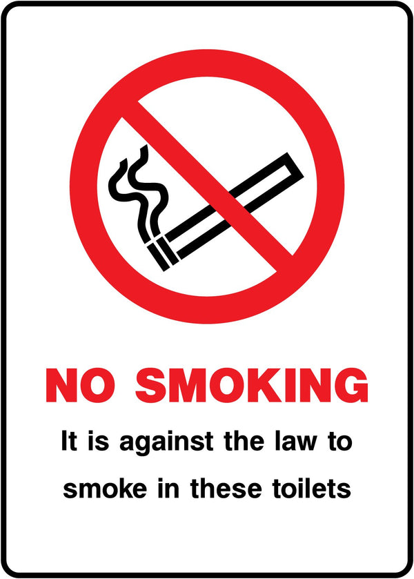NO SMOKING - It is against the law to smoke in these toilets. Sign