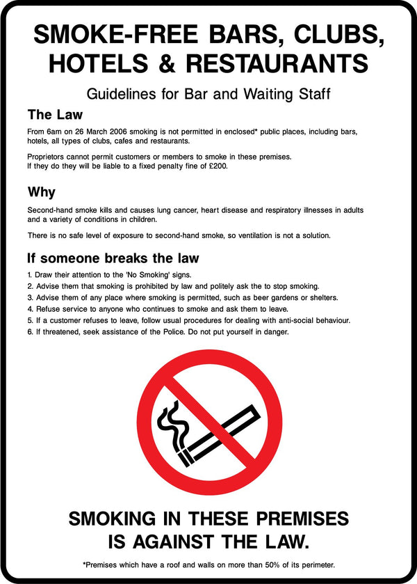 SMOKE FREE GUIDELINES FOR UK BAR AND WAITING STAFF Sign