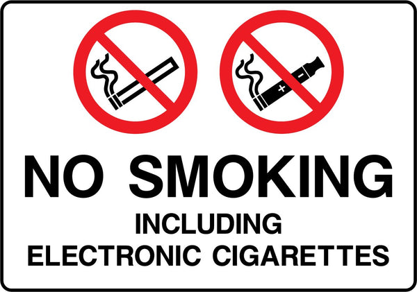 NO SMOKING. Including electronic cigarettes. Sign