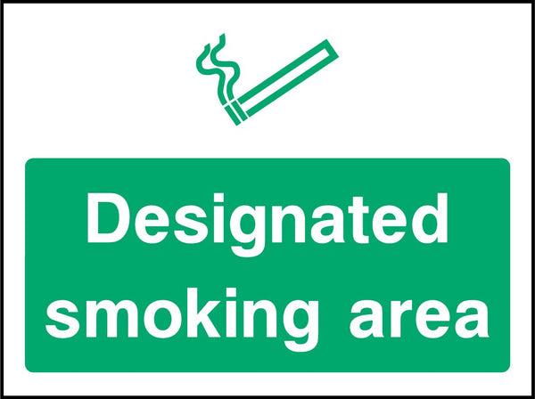 Designated smoking area. Sign