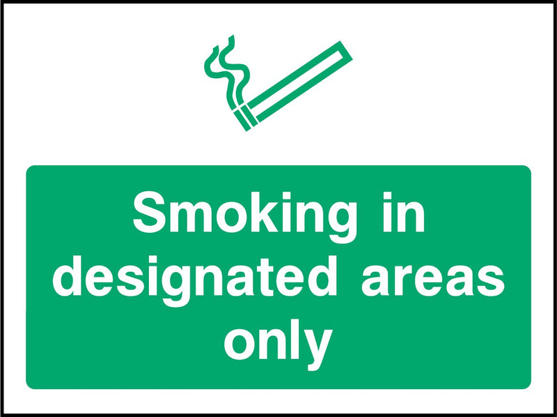 Smoking in designated areas only. Sign