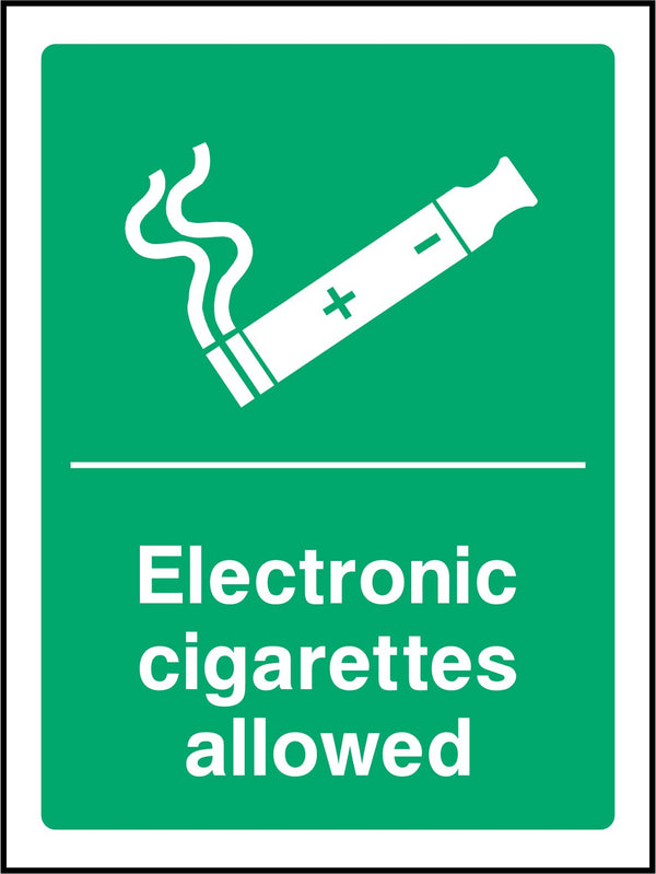 Electronic cigarettes allowed. Sign