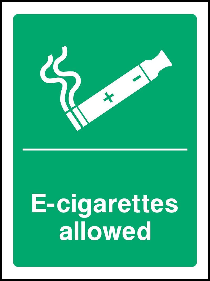 E-cigarettes allowed. Sign