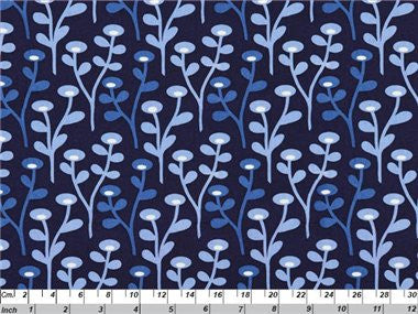 Scandi Blue Blob Blob Floral Navy White 1041.02
