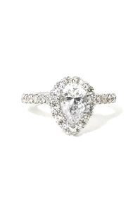 1ct Pear Shape Halo Diamond Ring