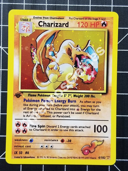 1St Edition Charizard Cosmos Holo Vintage Wotc Style Custom Pokemon Card Layered