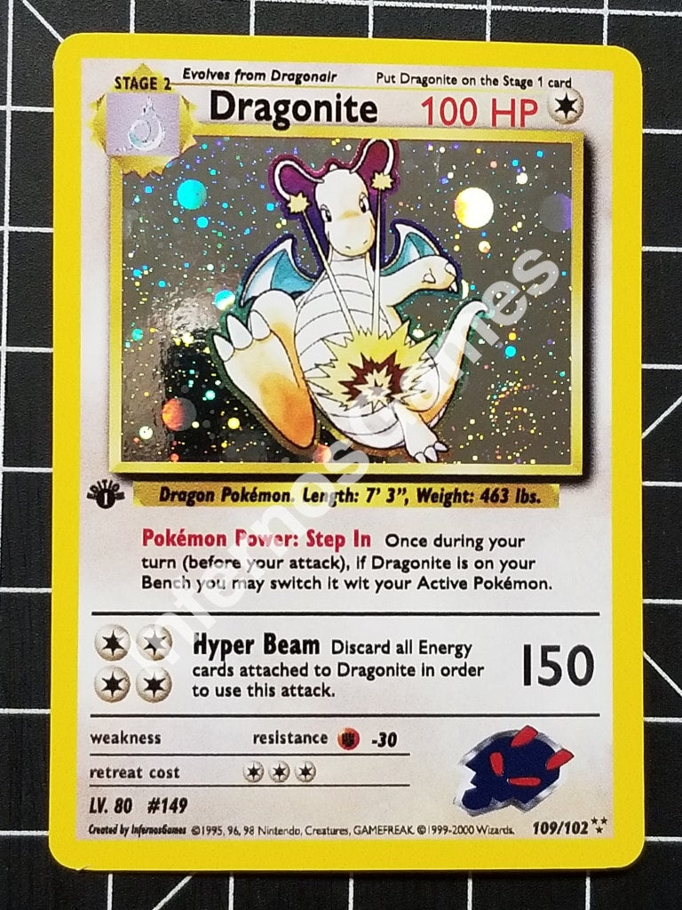 1St Edition Dragonite Cosmos Holo Vintage Wotc Style Custom Pokemon Card