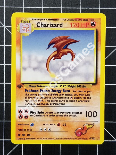 1St Edition Holo Charizard Vintage Wotc Style Custom Pokemon Card Non