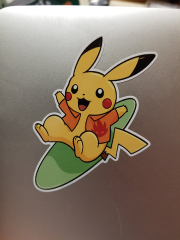 Surfing Pikachu Vinyl Decal Sticker