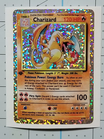 Charizard Holographic Decal Sticker (Card Size)