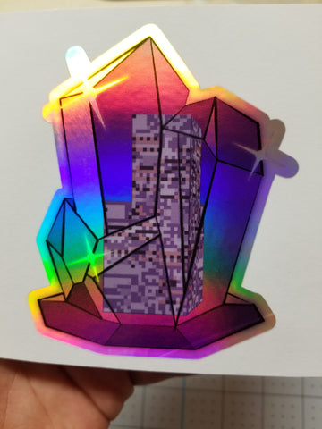 "Crystal MissingNo. Rainbow Holographic Decal Sticker (4"" tall)"