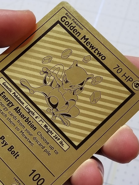 Golden Mewtwo Custom Card (Gold Metallic Holo, Vintage Style)