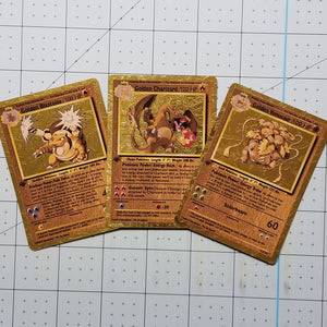 1/10 Limited Ultra Luxury Golden Starter Trio Charizard, Blastoise, Venusaur Custom Cards (Metallic Holo)