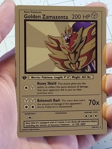 Golden Zamazenta Custom Card (Gold Metallic Holo, Vintage Style)