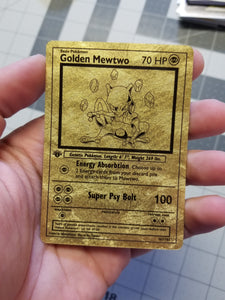 Golden Mewtwo Custom Card (Gold Textured Holo, Vintage Style)
