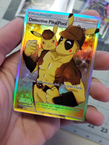 Detective PikaPool Pikachu/Deadpool Trainer Full Art Rainbow Rare Holo Custom Card
