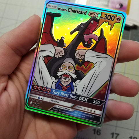 Blaine's Charizard GX Full Art Rainbow Holo Custom Card
