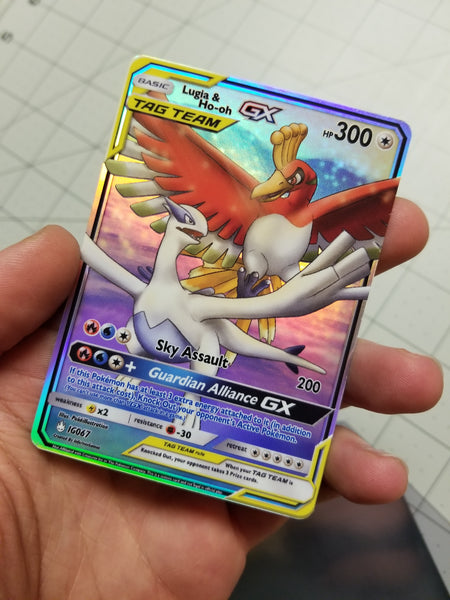 Ho-Oh and Lugia Tag Team GX Full Art Rainbow Holo Custom Card