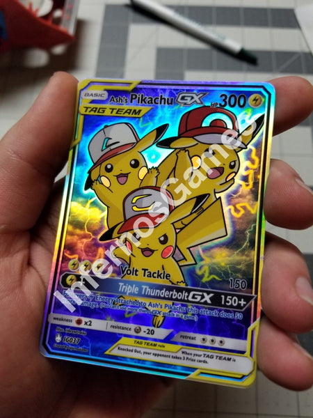 Ashs Pikachu Gx Tag Team Full Art Rainbow Holo Custom Card