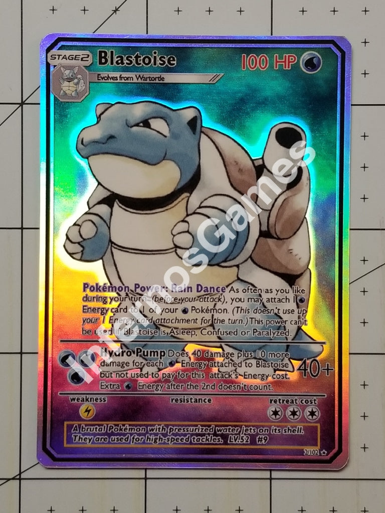 Blastoise Gx Full Art Rainbow Holo Custom Card