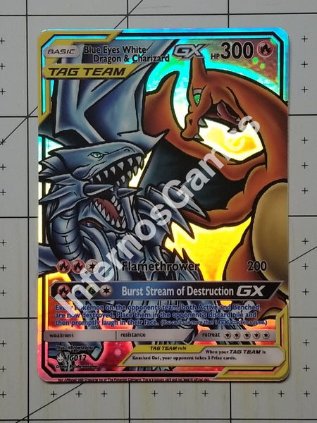 Blue Eyes White Dragon & Charizard Gx Full Art Rainbow Holo Custom Card