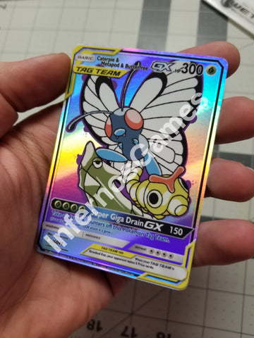 Caterpie & Metapod Butterfree Tag Team Full Art Rainbow Holo Custom Card