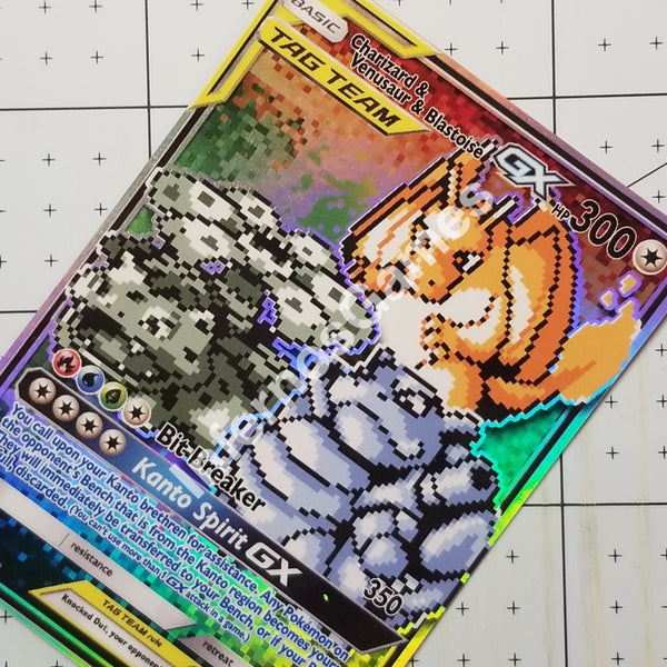 Charizard Blastoise Venusaur Gx Tag Team Full Art Rainbow Holo Custom Card