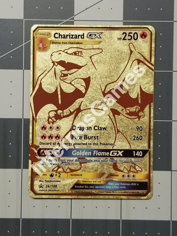 Charizard Gx Full Art Gold Leaf Holo Custom Card