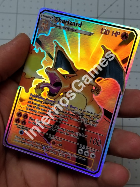 Charizard Gx Full Art Rainbow Holo Custom Card