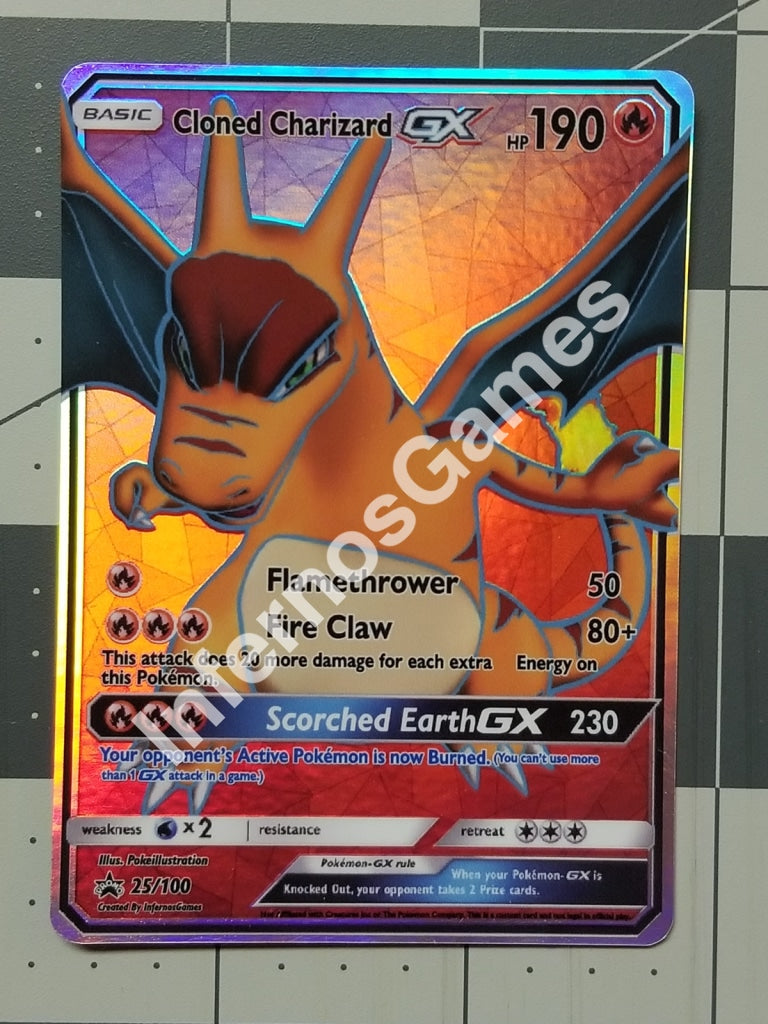 Cloned Charizard Gx Full Art Rainbow Holo Custom Card