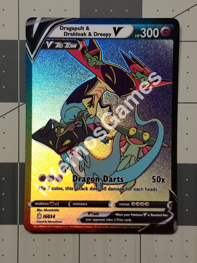 Dragapult Drakloak & Dreepy V Tag Team Full Art Rainbow Holo Custom Card