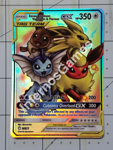Eevee & Jolteon Vaporeon Flareon Gx Full Art Rainbow Holo Custom Card