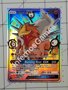 Entei Gx Full Art Rainbow Holo Custom Card