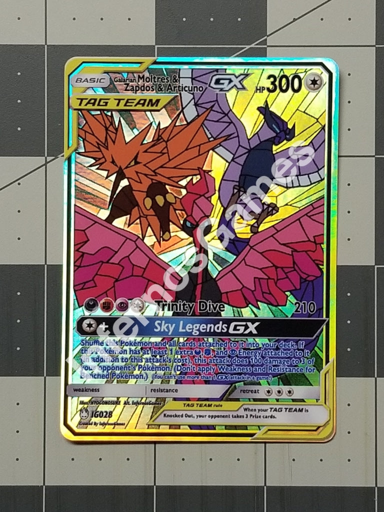 Galarian Moltres Zapdos Articuno Gx Stained Glass Full Art Rainbow Holo Custom Card