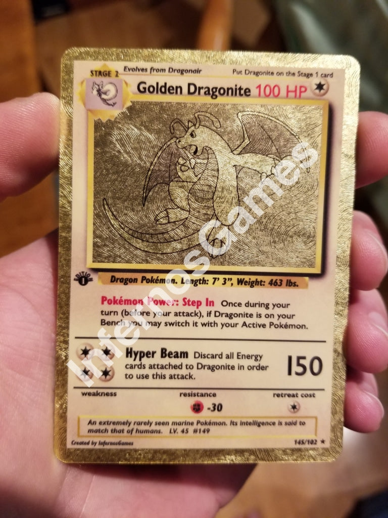 Golden Dragonite Gold Leaf Metallic Holo Vintage Style Custom Card