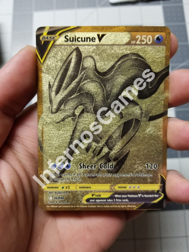 Golden Suicune V Card Full Art Gold Leaf Holo Custom