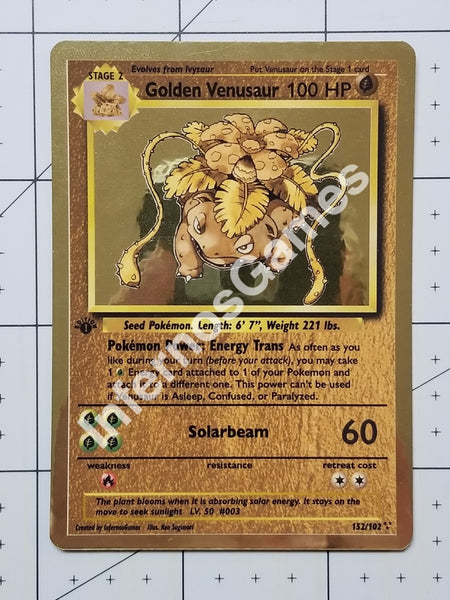 Golden Venusaur Custom Card (Metallic Holo Vintage Style)