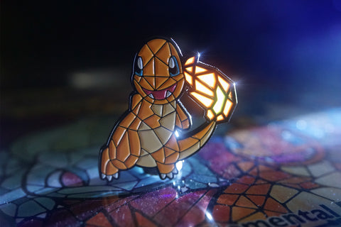 "Limited 1/100 Stained Glass Charmander Custom 1.5"" Pin"