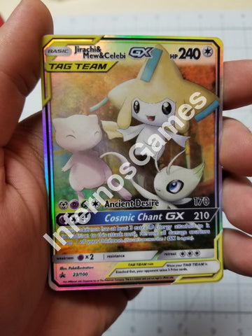 Jirachi Mew And Celebi Tag Team Gx Full Art Rainbow Holo Custom Card
