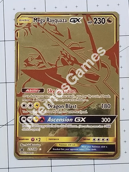 Mega Rayquaza Gx Full Art Golden Metallic Holo Custom Card