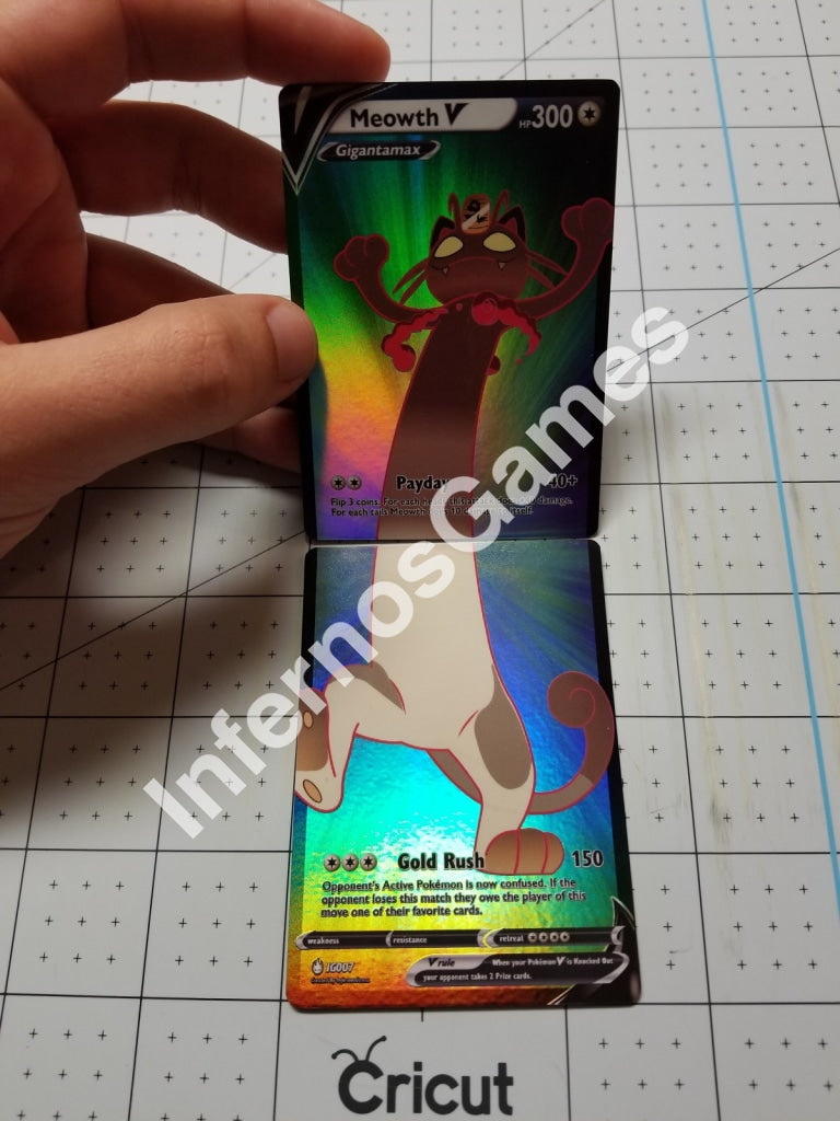 Meowth Gigantamax V Full Art Rainbow Holo Custom 2 Part Cards