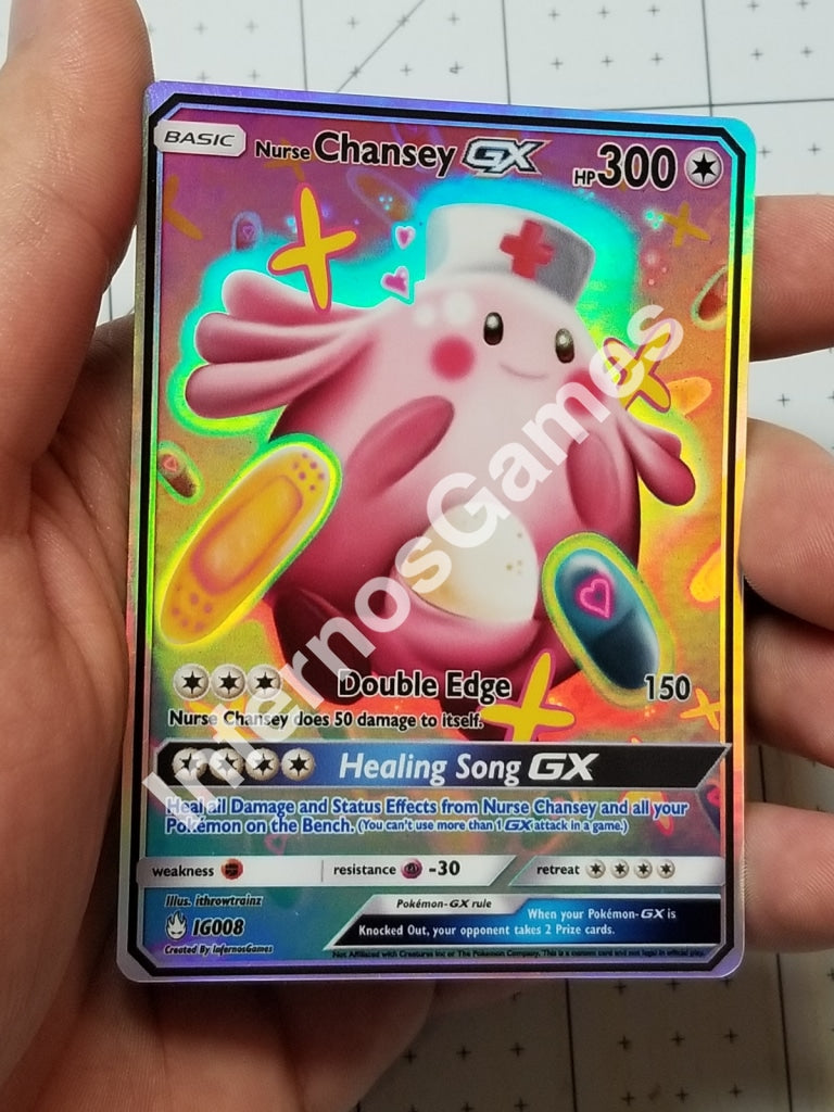Nurse Chansey Gx Full Art Rainbow Holo Custom Card