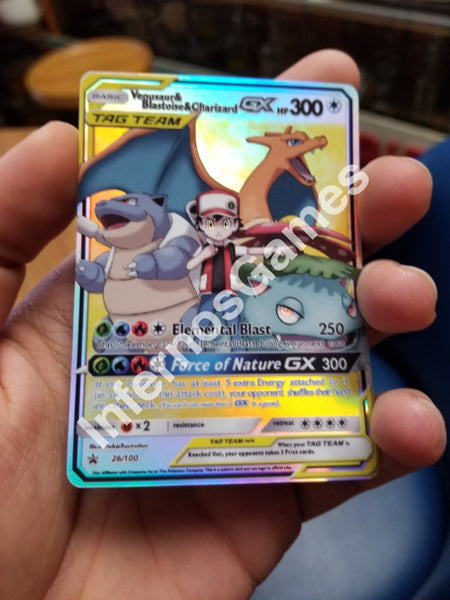 Reds Team Charizard Blastoise Venusaur Tag Gx Full Art Rainbow Holo Custom Card