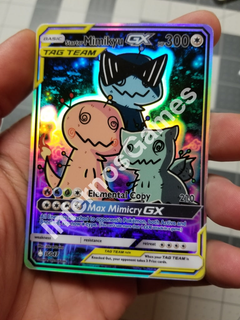Starter Mimikyu Tag Team Full Art Rainbow Holo Custom Card