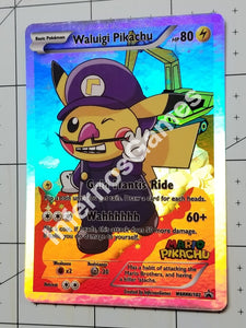 Waluigi Pikachu Full Art Rainbow Holo Custom Card